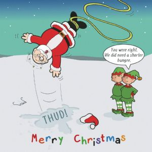 CANX42  Happy Christmas Card Bungee Santa